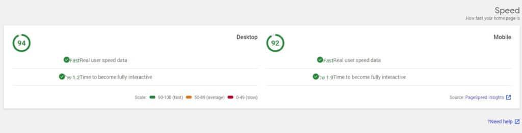 דוגמא לתצוגה של מהירות דף בערכת האתר של גוגל