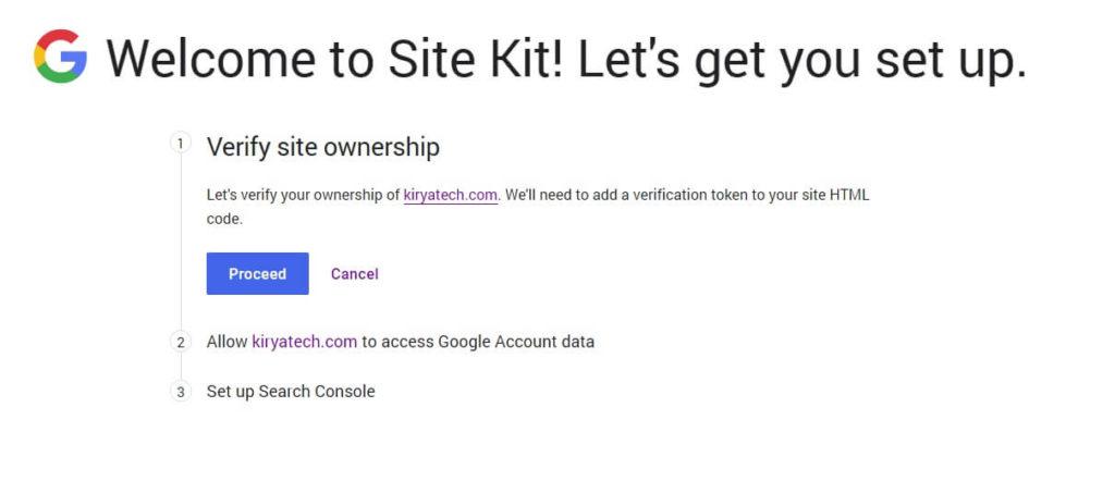 תהליך אימות של התוסף Site Kit by Google