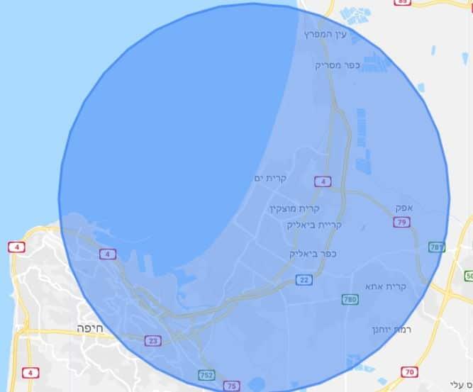 מפה זו מציגה את רדיוס פילוח חדש של כמה קילומטרים סביב העסק של הלקוח שלנו.